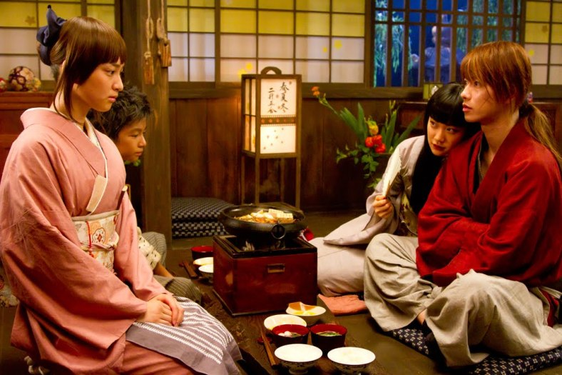 Kaoru, Yahiko, Megumi, Kenshin and a beef bowl meal.