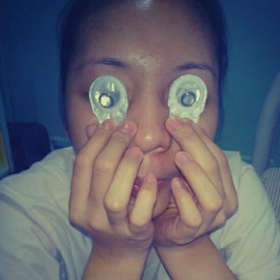 Something productive with borrowed contact lenses.