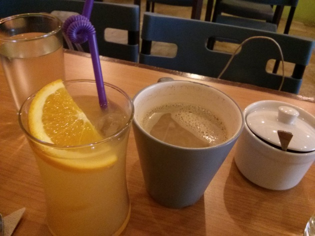 Orange ginger cooler for Hazel, soy coffee for me.