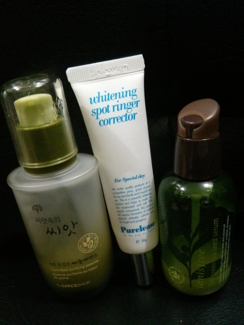 The Face Shop Core Purifying Seed Essence, Purelease Whitening Spot Ringer, Innisfree Green Tea.