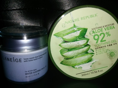 The last layer of moisture: Laniege Water Sleeping_Ex Pack, Nature Republic Aloe Vera Pack
