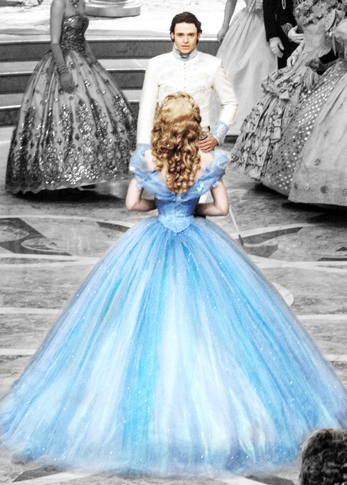 Cinderella goes to the ball, snags the first dance and the royal heart. Cinderella, 2015.