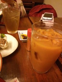 Lemongrass iced tea and Thai milk tea.